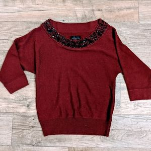Attention Maroon and Black Jewel Neckline Sweater